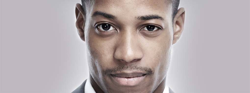 African American handsome man. Face close-up.