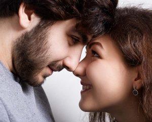 Man and Woman Rubbing Noses New York NY