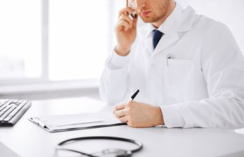 Doctor consultation by telephone.